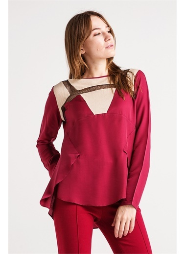 Kupları Triko Ve Til Detaylı Bluz-Love'n Fashion Paris
